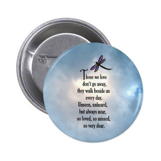"""Dragonfly """"So Loved"""" Poem Pinback Button"""