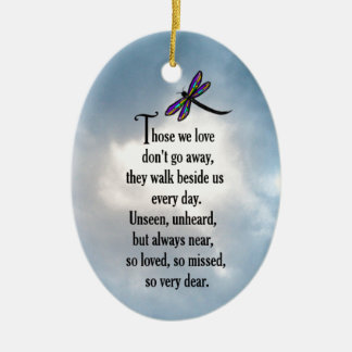 """Dragonfly """"So Loved"""" Poem Double-Sided Oval Ceramic Christmas Ornament"""