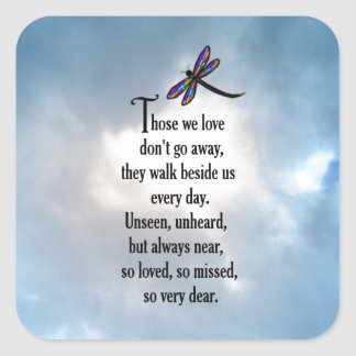 "Dragonfly ""So Loved"" Poem Square Sticker"