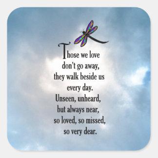 "Dragonfly ""So Loved"" Poem Square Sticker"
