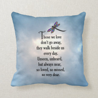 """Dragonfly """"So Loved"""" Poem Throw Pillow"""