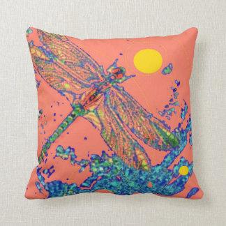 Dragonfly Splash Salmon Pillow by Sharles