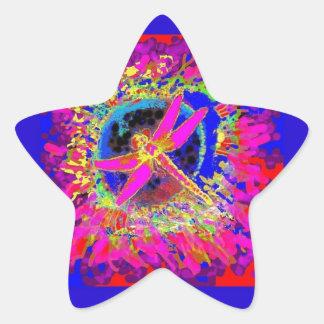 Dragonfly Splashing Colors by Sharles Star Sticker