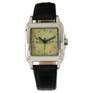 Dragonfly Square Vintage Leather Strap Watch