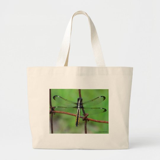 DRAGONFLY STOPS BY THE GARDEN LARGE TOTE BAG