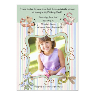 Dragonfly Stripe Photo Birthday Party Invitation