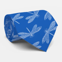 Dragonfly Summer Blues Nature Lover Custom Color Neck Tie