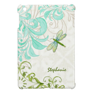 Dragonfly Swirl Flourish Watercolor Personalized Cover For The iPad Mini