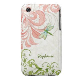 Dragonfly Swirl Flourish Watercolor Personalized iPhone 3 Covers