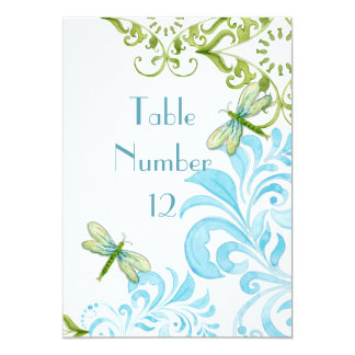 Dragonfly Swirls Scroll Modern Floral Table Number Card