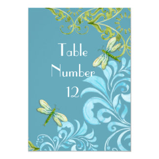 """Dragonfly Swirls Scroll Modern Floral Table Number 5"""" X 7"""" Invitation Card"""