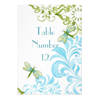 Dragonfly Swirls Scroll Modern Floral Table Number Custom Announcement