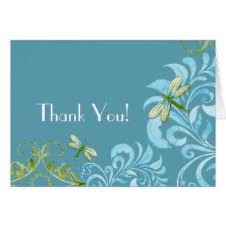 Dragonfly Swirls Scroll Modern Floral Thank You Greeting Card