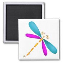 Dragonfly-teal/pink Magnet