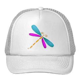 Dragonfly-teal/pink Trucker Hats