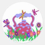 Dragonfly teapot stickers round sticker
