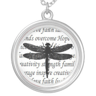 Dragonfly Text Necklace