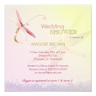Dragonfly Theme Unique Bridal Shower Card