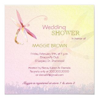 """Dragonfly Theme Unique Bridal Shower Invitations 5.25"""" Square Invitation Card"""