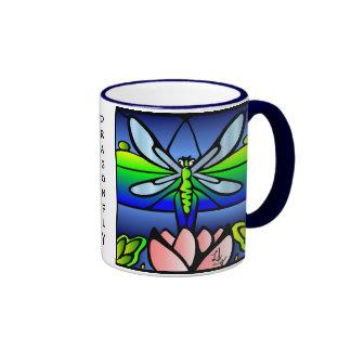 Dragonfly Tiffany Style Ringer Coffee Mug