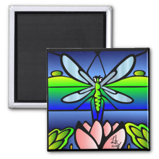 Dragonfly Tiffany Style Square Magnet
