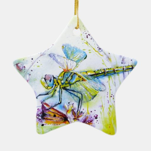 Dragonfly Touch Double-Sided Star Ceramic Christmas Ornament