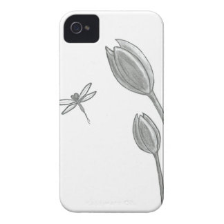 Dragonfly Tulip Drawing Case-Mate iPhone 4 Cases