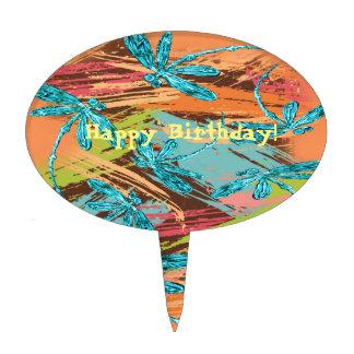 Dragonfly Turquoise Splash Cake Topper