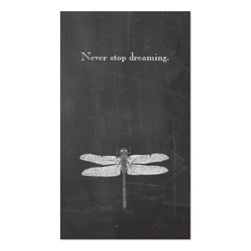 Dragonfly Vintage Etching Rustic Grunge Look Black Business Card Template