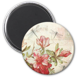 Dragonfly Vintage Floral Red Flowers Azaleas 2 Inch Round Magnet
