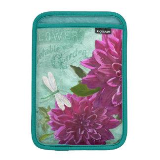Dragonfly w Purple Dinner Plate Dahlia Flowers iPad Mini Sleeves