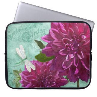Dragonfly w Purple Dinner Plate Dahlia Flowers Laptop Sleeves