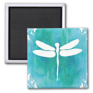 Dragonfly Watercolor White Aqua Blue Dragonflies 2 Inch Square Magnet