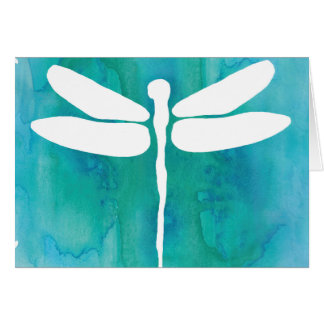 Dragonfly Watercolor White Aqua Blue Dragonflies Card