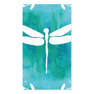 Dragonfly Watercolor White Aqua Blue Dragonflies Double-Sided Standard Business Cards (Pack Of 100)