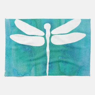 Dragonfly Watercolor White Aqua Blue Dragonflies Hand Towels
