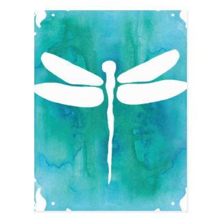 Dragonfly Watercolor White Aqua Blue Dragonflies Postcard