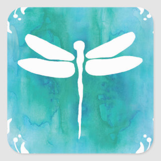 Dragonfly Watercolor White Aqua Blue Dragonflies Square Sticker