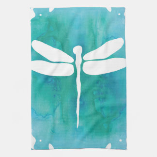 Dragonfly Watercolor White Aqua Blue Dragonflies Towel