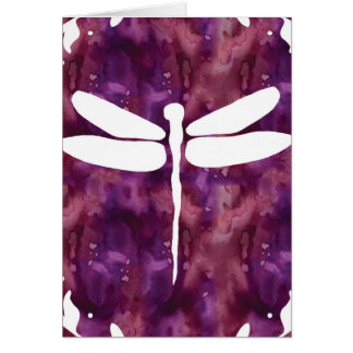 Dragonfly Watercolor White Purple Red Dragonflies Card