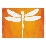 Dragonfly Watercolor White Yellow Orange Template Greeting Card