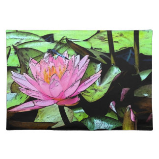 Dragonfly Waterlily Cloth Placemat