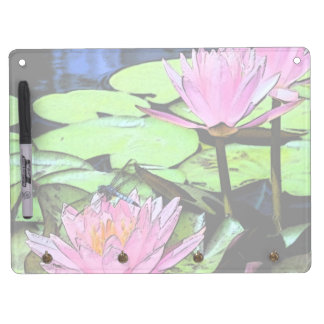 Dragonfly Waterlily Dry Erase Board With Keychain Holder