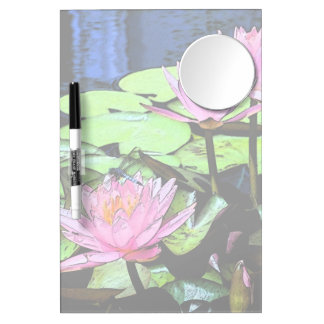 Dragonfly Waterlily Dry Erase Board With Mirror