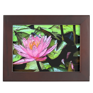 Dragonfly Waterlily Keepsake Box