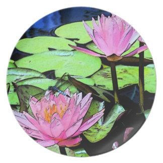 Dragonfly Waterlily Plate