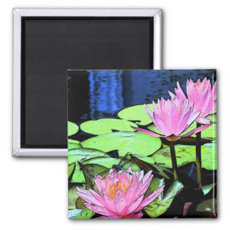Dragonfly Waterlily sumi-e 2 Inch Square Magnet