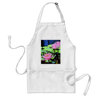 Dragonfly Waterlily sumi-e Apron