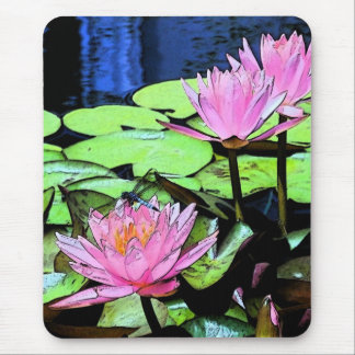 Dragonfly Waterlily sumi-e Mouse Pad