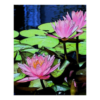 Dragonfly Waterlily sumi-e Poster